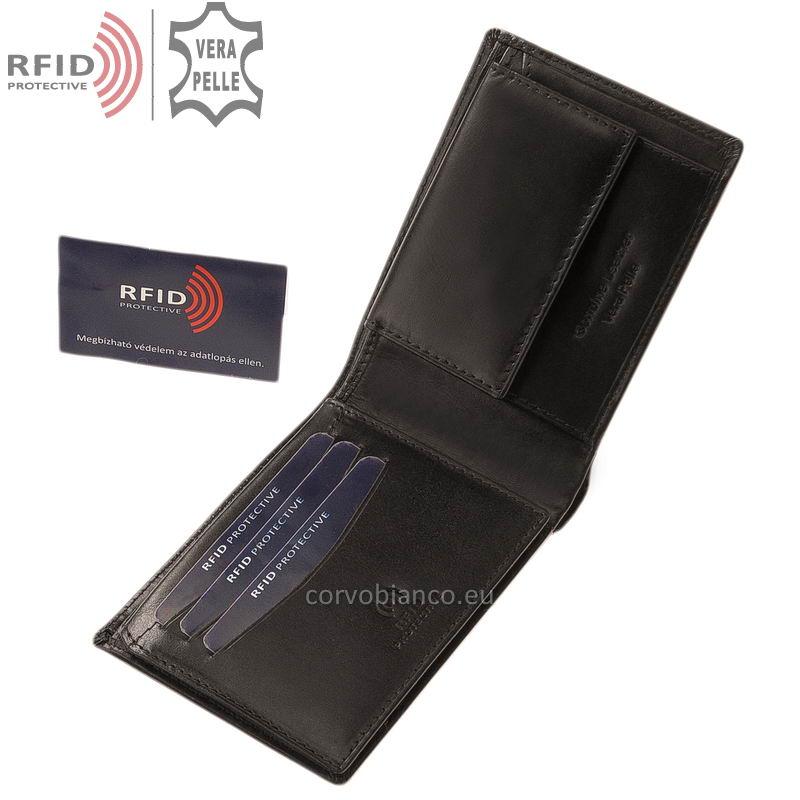 Corvo Bianco pénztárca RFID védelemmel RCBS09 fekete belső kép-1