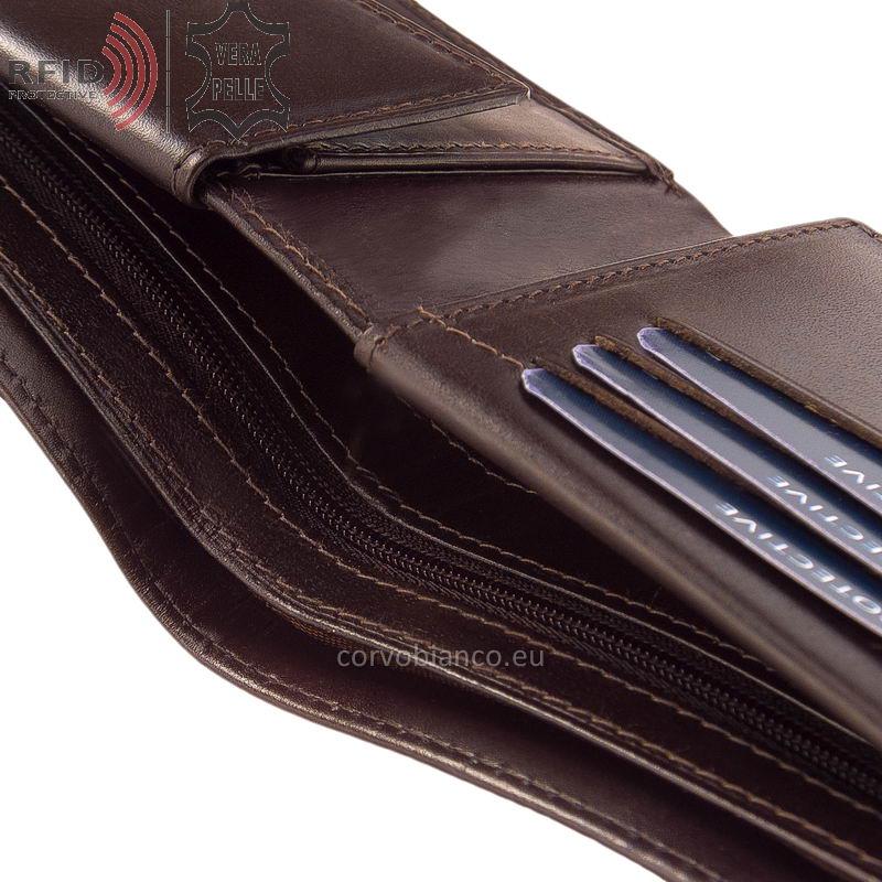 Corvo Bianco pénztárca RFID védelemmel RCBS09 barna belső kép-3