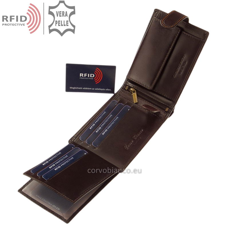 Corvo Bianco pénztárca RFID védelemmel RCBS1021/T barna belső kép-3