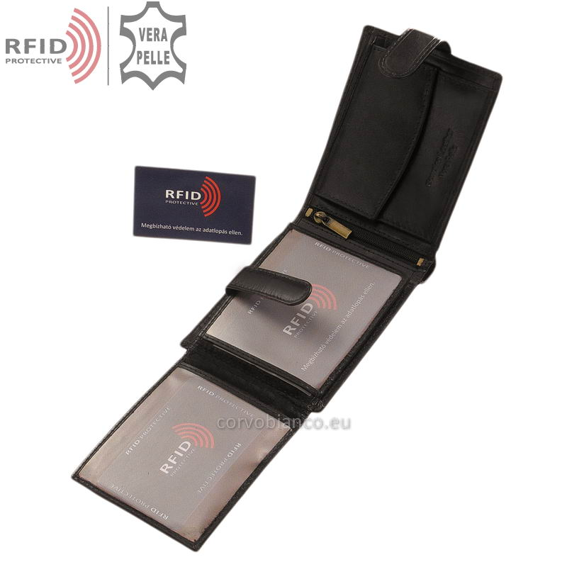 Corvo Bianco pénztárca RFID védelemmel RCBS6002L/T fekete belső kép-2